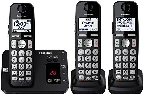 Panasonic KX-TGE433B Cordless Phone with Answering Machine- 3 Handsets (Renewed)