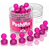 20 Pink Strong Magnets Refrigerator - Push Pins Small Magnets for Home - Mini Refrigerator Magnets Heavy Duty Push Pins - Tiny Magnetic Pins for Teachers - Refrigerator Magnets Strong Magnet Set