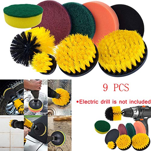 Chiccc Drill Brush Scrub Pads 9 Piece Power Scrubber Cleaning Kit All Purpose Cleaner Scrubbing Cordless Drill for Cleaning Pool (Right Corner Bathtub)