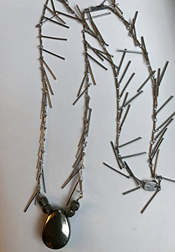 Pyrite Silver Fringe Necklace - Reduced Designer