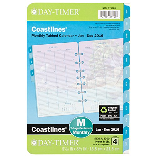 Day-Timer Two Page Per Month Refill 2016, 12 Months, Loose-Leaf, Desk Size, 5.5 x 8.5 Inches, Coastlines (13300)