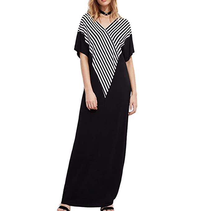 f0948f9bab7 Maonet Women Casual V Neck Half Sleeve Loose Striped Summer Long Maxi Dress  (M