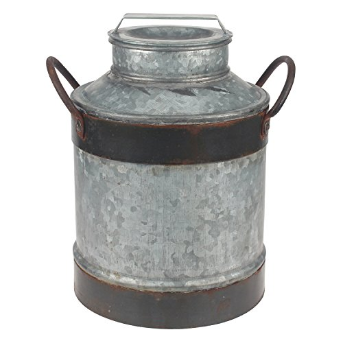 Stonebriar Large Aged Galvanized Milk Can with Rust Trim and Handles Rust Trim