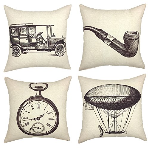 YOUR SMILE Decorative Throw Pillow Case Cushion Covers Jalopy Airship Tobacco Pipe Pocket Watch, 18 x 18,Set of 4 (Vintage Series)