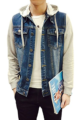 Jacket Denim Varsity - Plaid&Plain Men's Denim Letterman Jacket with Hood Blue XS