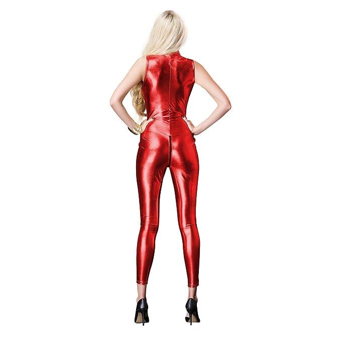 8b0eb44453 OBEEII Women Sexy Wet Look Jumpsuit Open Crotch Zipper Catsuit Faux Leather  Bodysuit Playsuit Erotic Fetish Fancy Dress Pole Dance Costume   Amazon.co.uk  ...