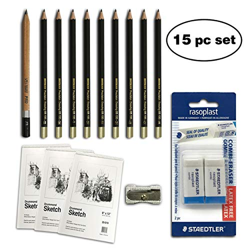 Deluxe Art Set Includes 3 Sketchbooks 150 Sheets Total 10 Premium Pencils Single Hole Sharpener and Staedtler Mars Eraser for The Ultimate Paper Kit (15 Piece Deluxe) ()