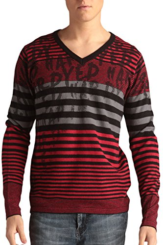 Ed Hardy Mens Stripped V-Neck Wool Blend Sweater With Signature Print - Red Black - X-Large