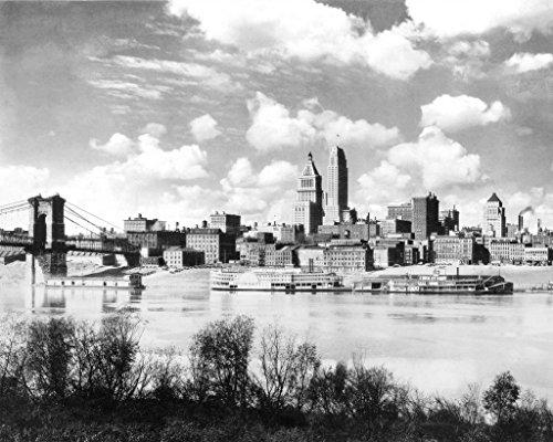 Restored 16x20 Black & White Photo - Historic Cincinnati, Ohio - Fountain Square, - Fountain Cincinnati Square Ohio