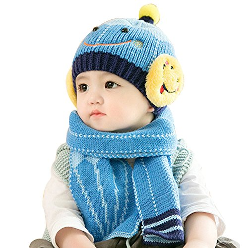 MiyaChic Baby Knit Hat and Scarf Unisex Infant Toddler 6-24 Months