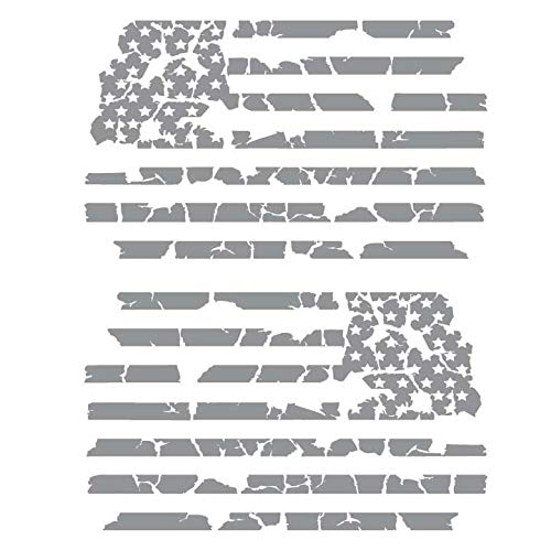 Bamfdecals USA Subdued Tattered Flag Detailed Automotive Grade Die-Cut Vinyl Decal - Small - Gray