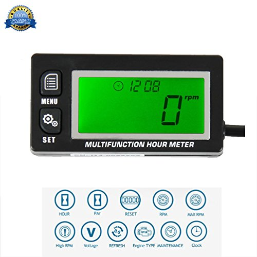 ultifunction Hour Meter Tachometer Voltmeter with Clock 2 & 4 Stroke for Small Engine Boat Outboard Mercury Motocross Motorcycle Lawn Mower Generator 028 (Stroke Tachometer)