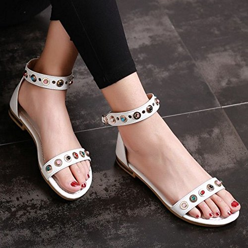 Open Toe White Sandals Flat Large and with SJJH wPxqZUTntv