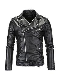 LANBAOSI Men's Leather Motorcycle Biker Jacket Police Style Faux Leather Jackets