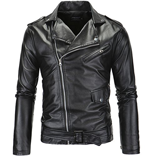 Leather Belted Motorcycle Jacket - 8