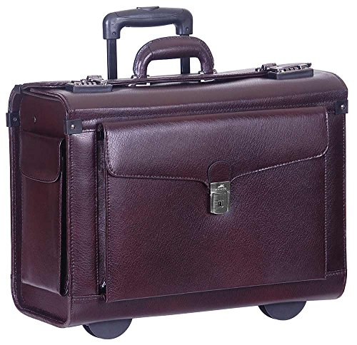 (Mancini Deluxe Wheeled Catalog Case, Leather Rolling Business Case in Burgundy)