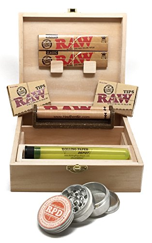 Bundle - 8 Items - Rolling Supreme Rolling Box, RAW Natural King Size Slim Rolling Papers, RAW Prerolled Tips, RAW 110mm Roller, Rolling Paper Depot 42mm Grinder and Doobtube