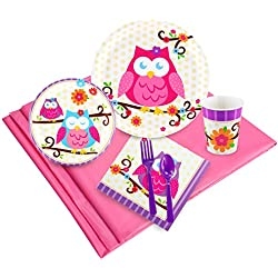 Owl Blossom Childrens Birthday Party Supplies - Tableware Party Pack (24)