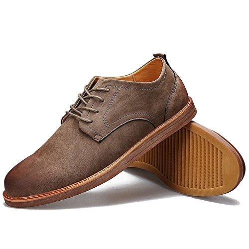 Taoffen Men Casual Derby Shoes Lace Up Footwear Grigio