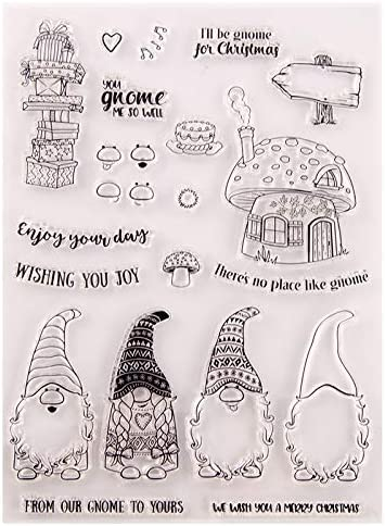 Welcome to Joyful Home 1pc Gnome Wishing You Joy Christmas Clear Stamp for Card Making Decoration and Scrapbooking