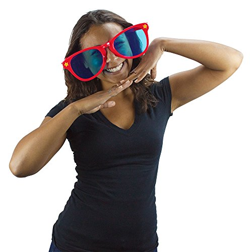 Jumbo Party Sunglasses | Novelty Shades Perfect For Birthdays, Theme Parties, Charity Events, Weddings, and More | Giant Glasses, Fits Adults and Children   (Red) -