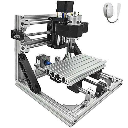 Mophorn CNC Machine 1610 Grbl Control CNC Router Kit 3 Axis PCB Wood Carving Milling Machine 160x100x40mm with Er11+ 5MM Extension Rod + Table Lamp