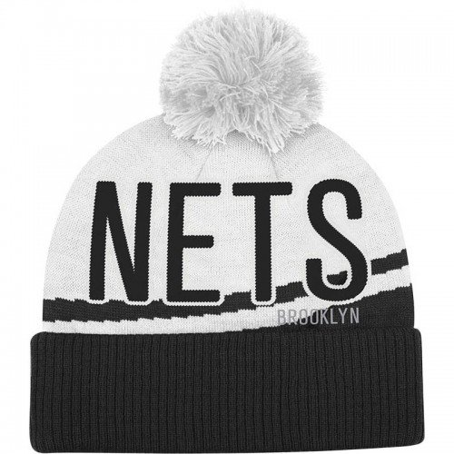 Brooklyn Nets Black Cuff Jacquard Woodmark Pom Beanie Hat - NBA Cuffed Knit Cap by adidas
