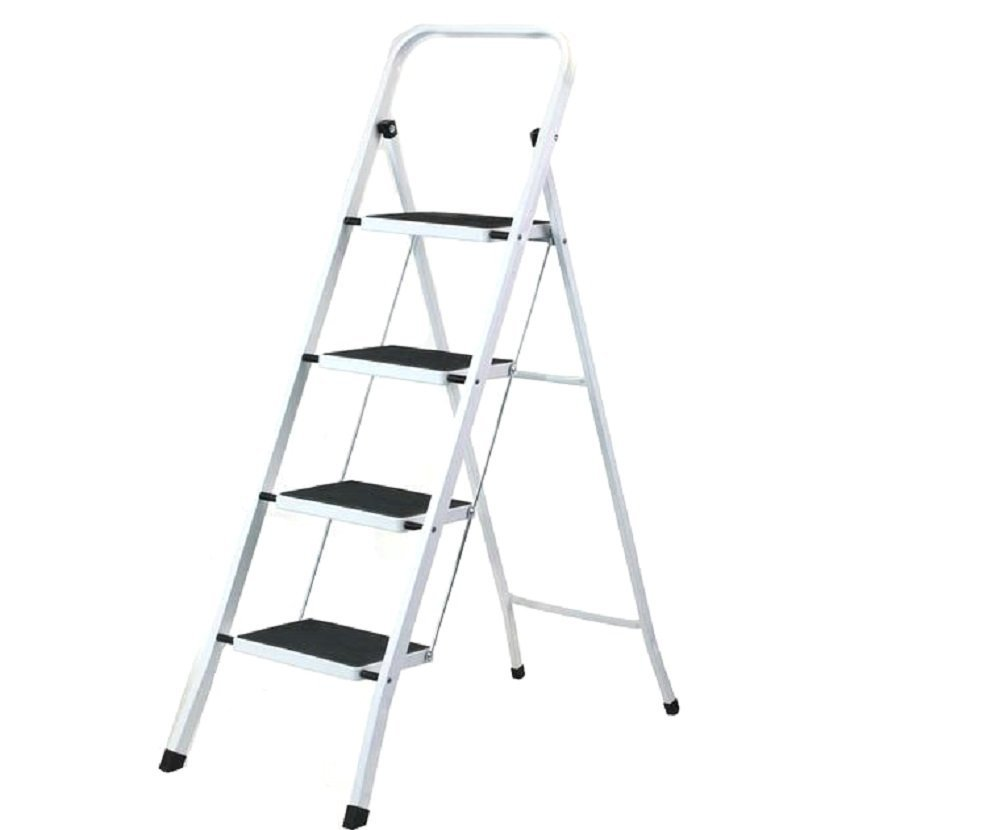 Uniware Heavy Duty Steel Step Ladder with Anti Slip Floors, Max Weight 150 KG /330 LB (4 Step Ladder )