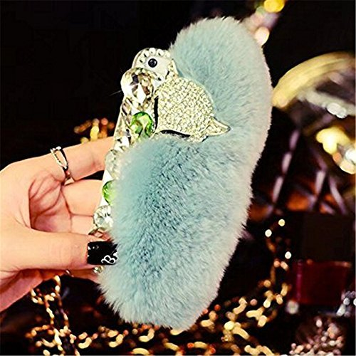 - Case for iPhone SE / 5S / 5,Super Deluxe Luxury Fox Head Fluffy Furry Soft Warm Beaver Rex Rabbit Hair Fur Glitter Diamond Crystal Rhinestone Case for iPhone SE / iPhone 5S / iPhone 5(Mint Green)
