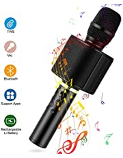 Micrófono Karaoke Bluetooth, Mbuynow TWS Micrófono Inalámbrico con Altavoz Incorporado para Cantar Función de Eco Party, Compatible con Android/iOS, PC o Smartphone (Rosa)