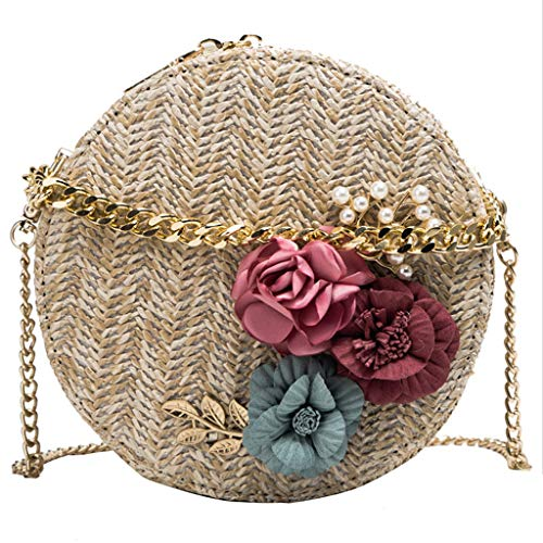 LiboboFashion Women Retro Weave Flower Bag Circular Chain Crossbody Bag Shoulder Bags (Khaki)