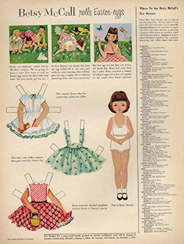 Betsy McCall rolls Easter eggs paper doll magazine page 1954