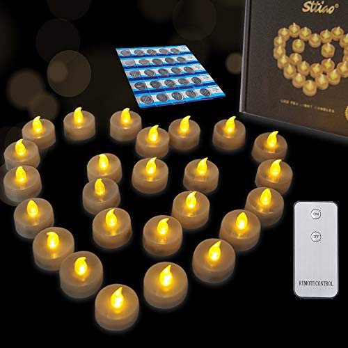 MICREAT LED Tealight Candles with Remote Control Flameless LED Candles, Battery Powered Flickering, Tea Lights Warm White for Indoor Outdoor Wedding Centerpieces Decor 24 pcak