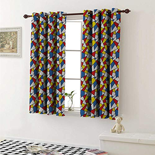 Price comparison product image shenglv Mosaic Customized Curtains Geometric Shapes Composition with Colorful Stained Glass Design Grid Illustration Curtains for Kitchen Windows W63 x L45 Inch Multicolor
