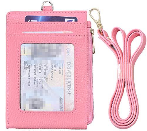 Beurlike Bifold ID Badge Holder Case Leather Credit Card Wallet Neck Lanyard (Pink)