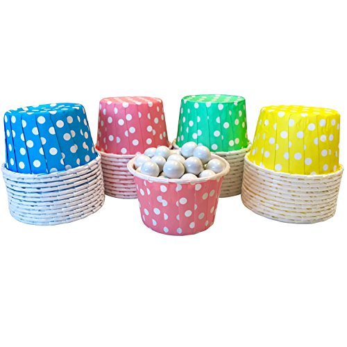 Candy Nut Mini Baking Paper Treat Cups - Pink Light Blue Mint Green Yellow and White Dot - Easter or Baby Shower Supply - 2 x 1.5 Inches - 48 Pack]()