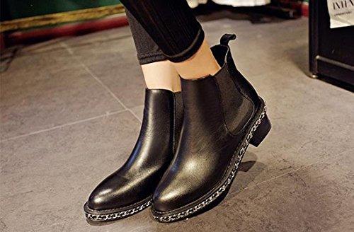 Bloc Nouveau Bottes Rivet Cheville Chelsea Chunky Chaussures Mode Talon Feminine Retro qTpwtTrP