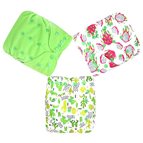 Langsprit Baby Cloth Diaper with Highly Absorbent Bamboo Inserts /& Wet Unisex