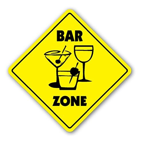 BAR ZONE Sign Xing Gift Novelty Drink Drunk Regulars Bartender Waitress - Sticker Graphic - Auto, Wall, Laptop, Cell Sticker (Bartender Sticker)
