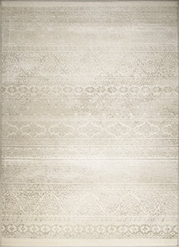 - Adgo Hudson Collection Modern Geometric Striped Medallion Triangle Contemporary Carpet Thick Plush Stain Fade Resistant Easy Clean Bedroom Living Dining Room Floor Rug, Ivory, 4' x 6'