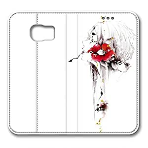 Samsung S6 leather Case,Samsung S6 Cases ,Flower girl biting a pencil diagram Custom Samsung S6 High-grade leather Cases