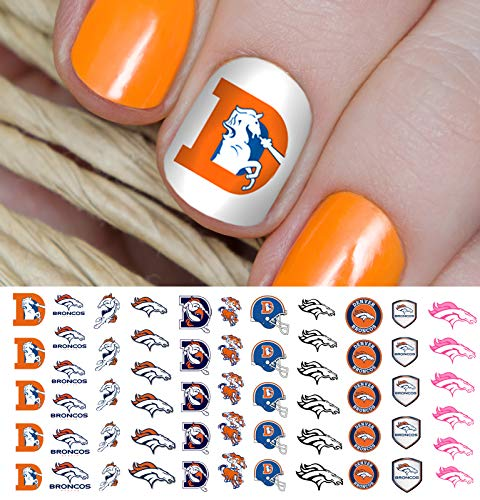 Denver Broncos Football Waterslide Nail Art Decals - Salon Quality -