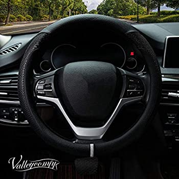 Valleycomfy Steering Wheel Cover with Microfiber Leather for Car Truck SUV 15 inch (Style-Black)