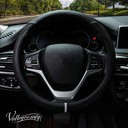 (Valleycomfy Steering Wheel Cover with Microfiber Leather for Car Truck SUV 15 inch (Style-Black))