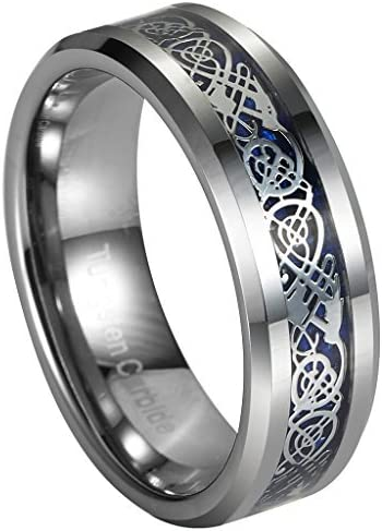 Gnex 6//8mm Blue Silver Tungsten Celtic Wedding Band Eternity Couples Ring Jewelry Pouch