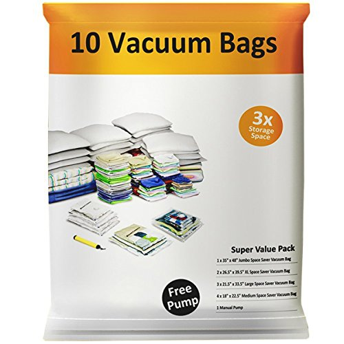 Trademark Global Air - Everyday Home 83-76 Vacuum Storage Bags-Space Saving Air Tight Compression-Shrink Down Closet Clutter, Store and Organize Clothes, Linens, Seasonal Items, 10