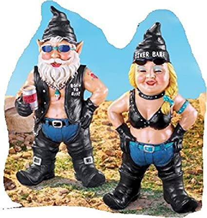 Good Garden Gnome Set Funny Biker Couple Yard Decor Garden Statues (Babe Woman)