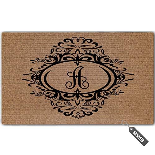 MsMr Personalized Monogram Door Mat Indoor Outdoor Custom Doormat Decorative Home Office Welcome Mat A Letter Doormat ()