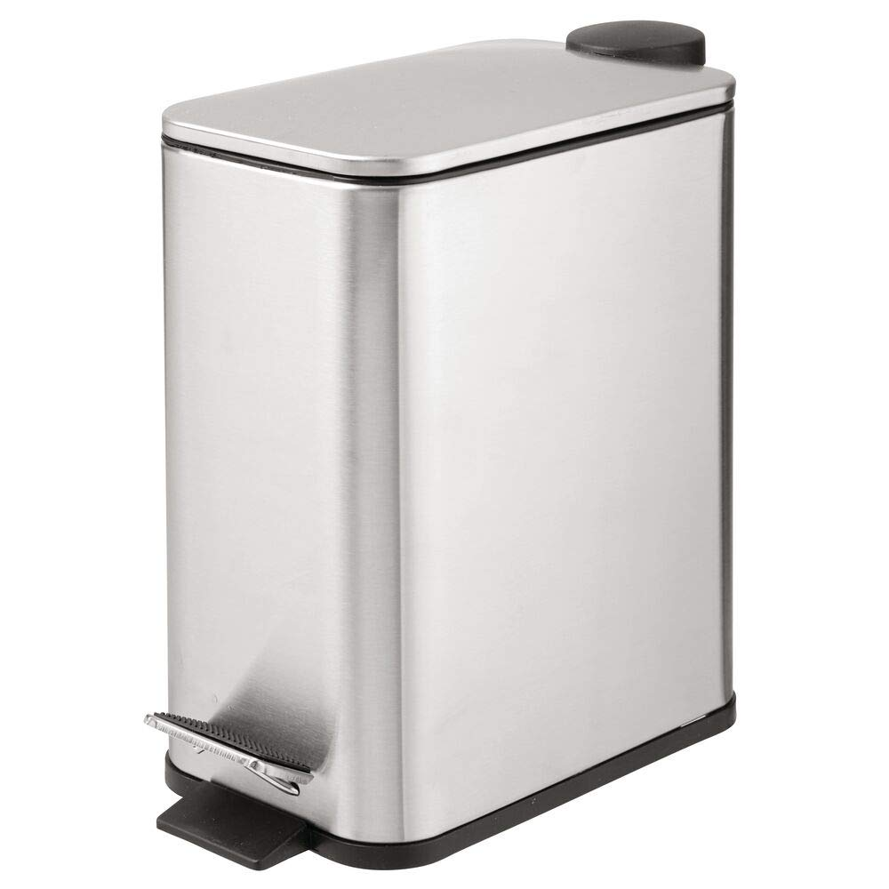 mDesign 1.3 Gallon Rectangular Small Steel Step Trash Can Wastebasket, Garbage Container Bin for Bathroom, Powder Room, Bedroom, Brushed Stainless Steel by mDesign