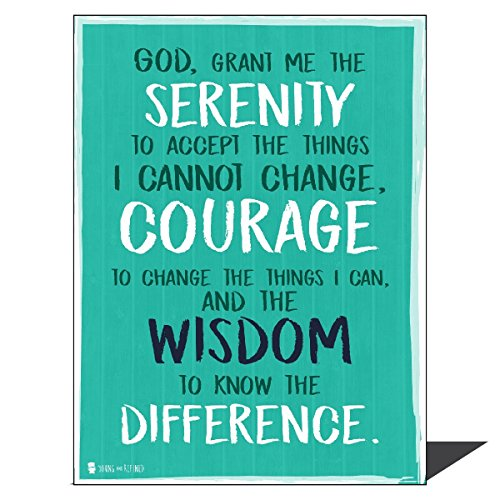 Young N Refined Serenity Prayer Extra Large Wall Art Print Perfect for Decorating Kitchens Homes bathrooms bedrooms hallways Aqua Big Huge Massive (22x28)